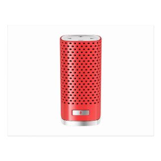Red smart speaker postcard