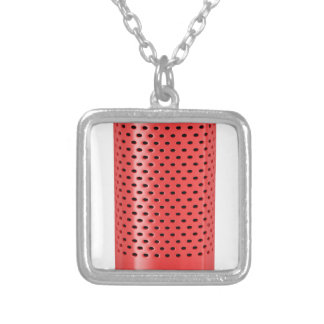 Red smart speaker silver plated necklace