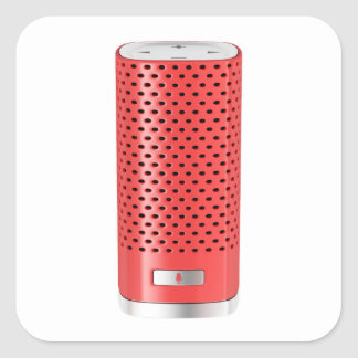 Red smart speaker square sticker
