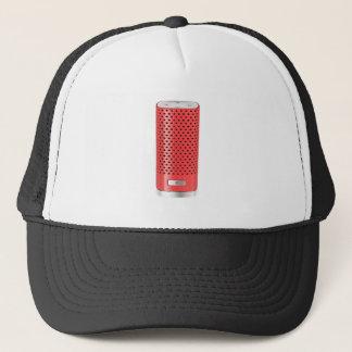 Red smart speaker trucker hat