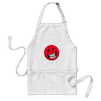 red smiley face apron