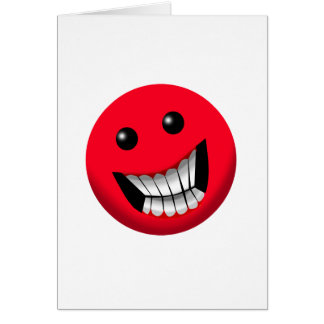 red smiley face greeting card