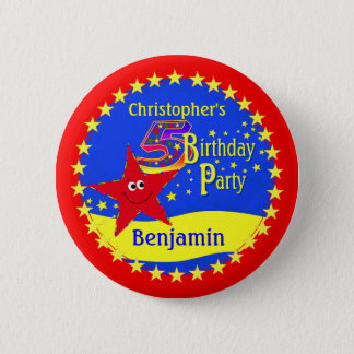Red Smiley Star 5th Birthday Party Name Button