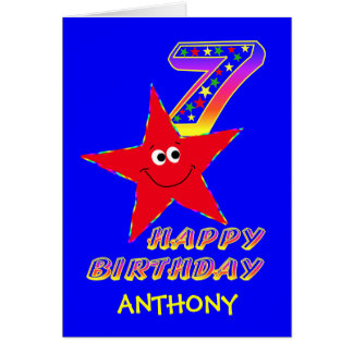 Red Smiley Star 7th Birthday Custom Name Greeting Card
