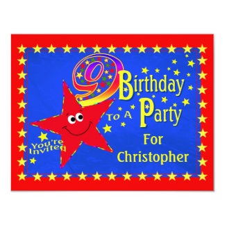 Red Smiley Star 9th Birthday Party Invitation