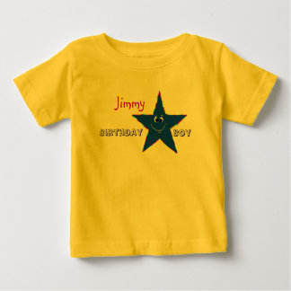 Red Smiley Star Birthday Boy Shirt