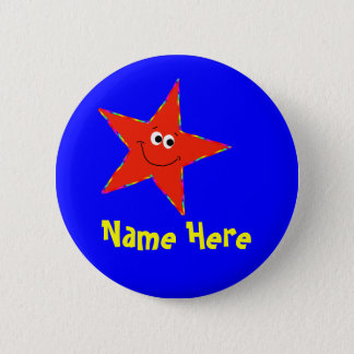 Red Smiley Star Birthday Party Button