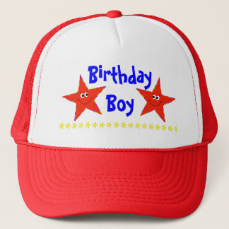 Red Smiley Stars Birthday Party Cap