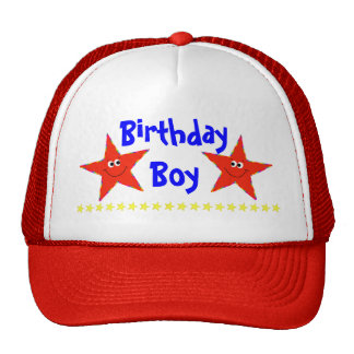 Red Smiley Stars Birthday Party Cap Mesh Hats