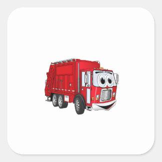 Red Smiling Garbage Truck Cartoon