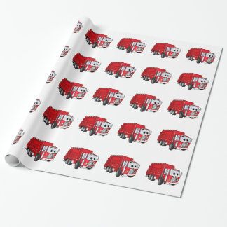 Red Smiling Garbage Truck Cartoon Wrapping Paper