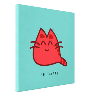 Red Smiling Kitty Cat Stretched Canvas Print
