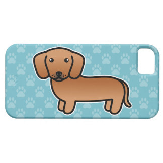 Red Smooth Coat Dachshund Cartoon Dog iPhone 5 Covers