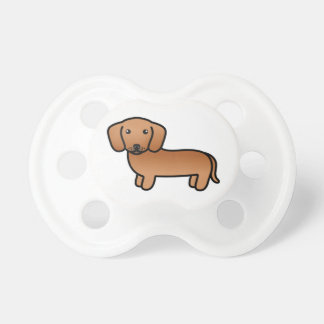 Red  Smooth Coat Dachshund Cartoon Dog Pacifiers