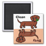 Red Smooth Dachshund 2 Dirty / Clean Fridge Magnets