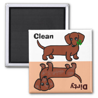 Red Smooth Dachshund 2 Dirty / Clean Square Magnet
