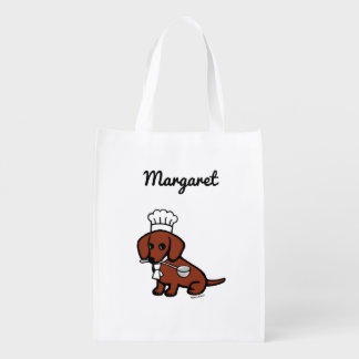 Red Smooth Dachshund Chef Reusable Bag