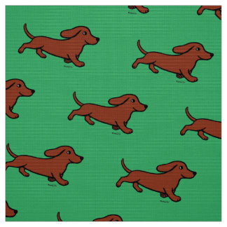 Red Smooth Dachshund Running Green Fabric