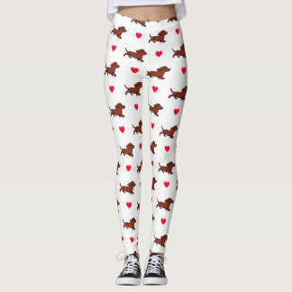 Red Smooth Dachshund Running Hearts Leggings
