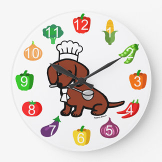 Red Smooth Haired Dachshund Chef Large Clock