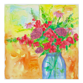 Red Snapdragons Watercolor Flower Bouquet Poster