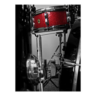 Red Snare Drum Poster
