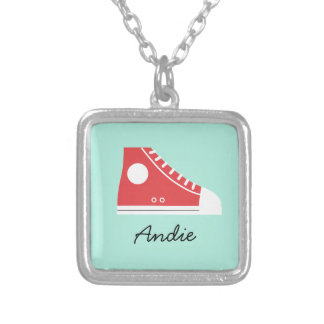Red Sneaker Silver Plated Necklace
