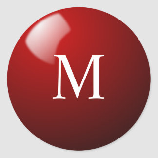 Red Snooker Ball Sticker with Monogram