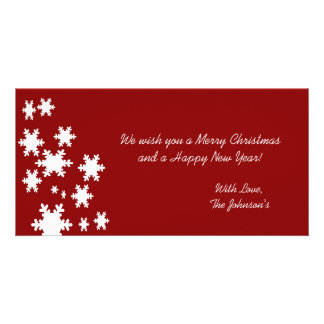 Red Snow Flakes Christmas Photo Cards