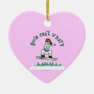 Red Snowboarder Ceramic Ornament