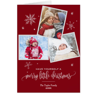 Red Snowflake | 3 Photo Christmas Photo Card