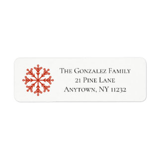 Red Snowflake Address Label