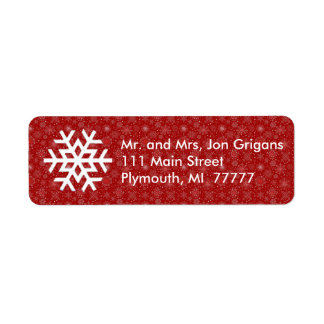 Red Snowflake Believe Address Label