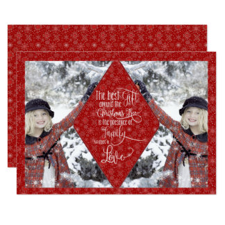 Red Snowflake Believe Photo Christmas Card