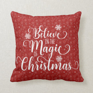 Red Snowflake Believe Pillow