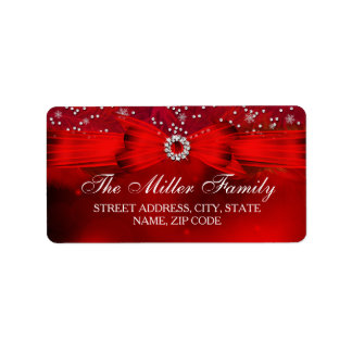 Red Snowflake & Bow Christmas Address Labels