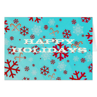 Red Snowflake Candy Cane Holiday Greeting Card