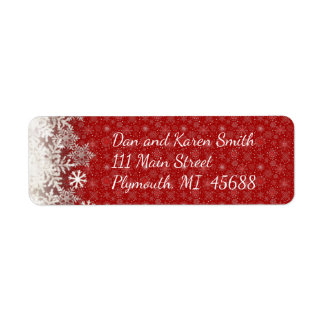 Red Snowflake Christmas Address Label