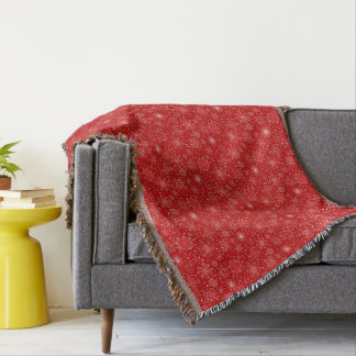 Red Snowflake Christmas Decor Throw Blanket