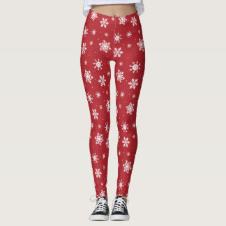 Red Snowflake Christmas Legging Ugly Sweater Party