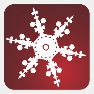 red snowflake envelope seal square sticker
