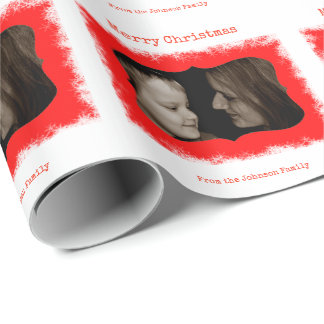 Red Snowflake Family Photo Personalised Gift Wrap
