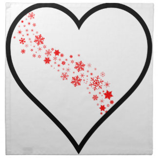 Red Snowflake Heart Napkin