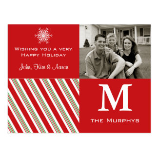 Red Snowflake Holiday Photo Card Postcard