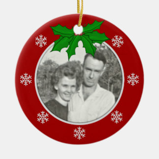 Red Snowflake Memorial Picture Ornament