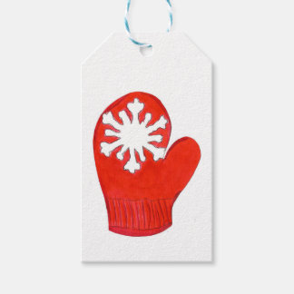 Red Snowflake Mittens Gift Tags