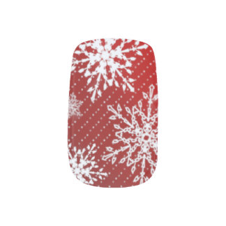 Red Snowflake Nail Design Minx Nail Art