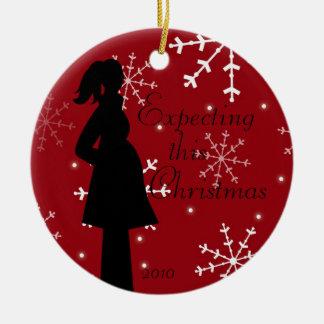 Red Snowflake Pregancy Ornament