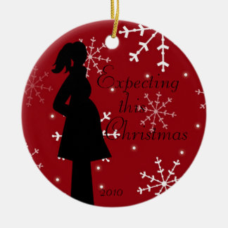 Red Snowflake Pregancy Ornament
