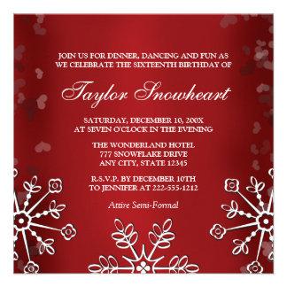 RED SNOWFLAKE SWEET SIXTEEN BIRTHDAY CUSTOM INVITATIONS